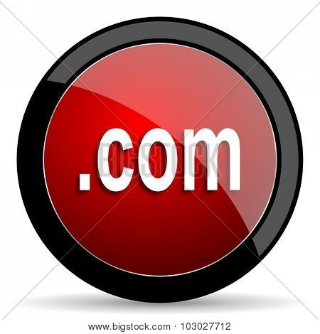 com red circle glossy web icon on white background, round button for internet and mobile app