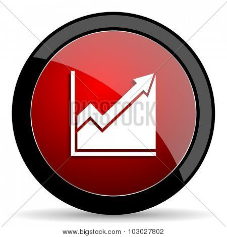 histogram red circle glossy web icon on white background, round button for internet and mobile app