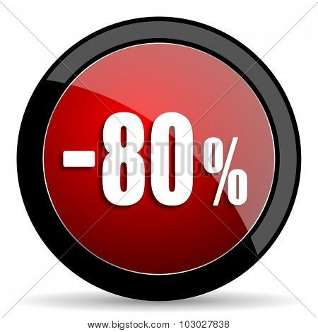 80 percent sale retail red circle glossy web icon on white background, round button for internet and mobile app