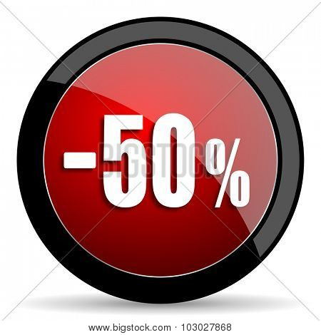 50 percent sale retail red circle glossy web icon on white background, round button for internet and mobile app