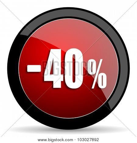 40 percent sale retail red circle glossy web icon on white background, round button for internet and mobile app