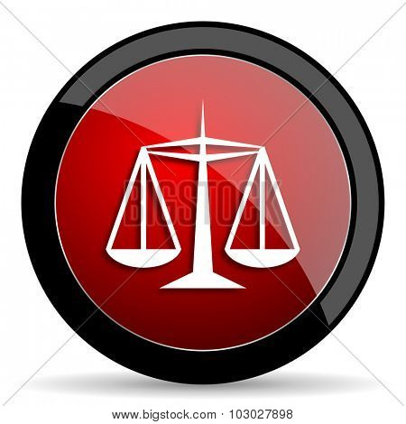 justice red circle glossy web icon on white background, round button for internet and mobile app