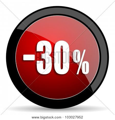 30 percent sale retail red circle glossy web icon on white background, round button for internet and mobile app