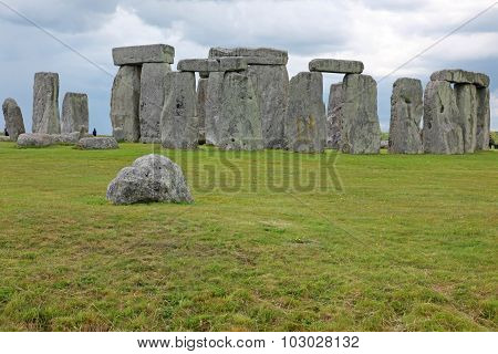 Big Old Stone At Stonehenge Historic Site. Stonehenge Is A Unesco World Heritage Site In England Wit