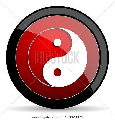 ying yang red circle glossy web icon on white background, round button for internet and mobile app