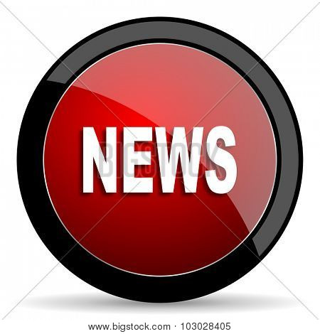 news red circle glossy web icon on white background, round button for internet and mobile app