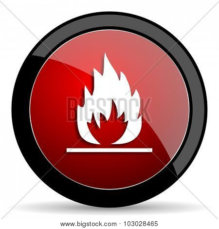 flame red circle glossy web icon on white background, round button for internet and mobile app