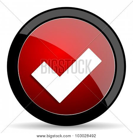 accept red circle glossy web icon on white background, round button for internet and mobile app