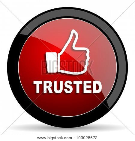 trusted red circle glossy web icon on white background, round button for internet and mobile app