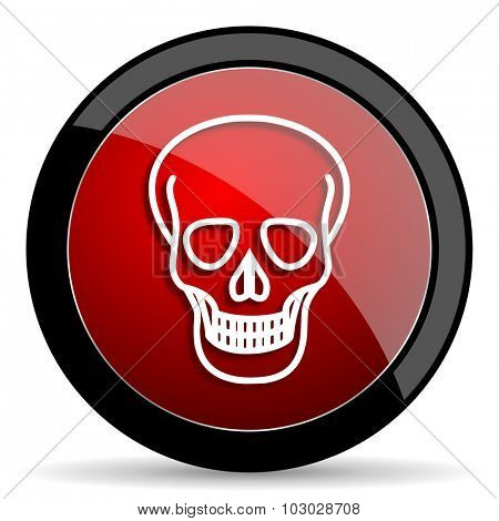 skull red circle glossy web icon on white background, round button for internet and mobile app