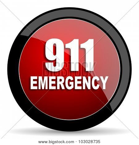 number emergency 911 red circle glossy web icon on white background, round button for internet and mobile app