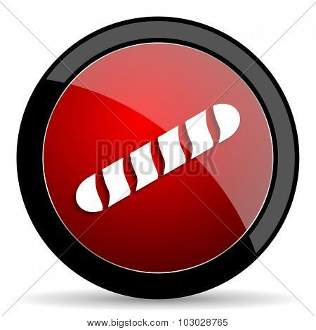 baguette red circle glossy web icon on white background, round button for internet and mobile app