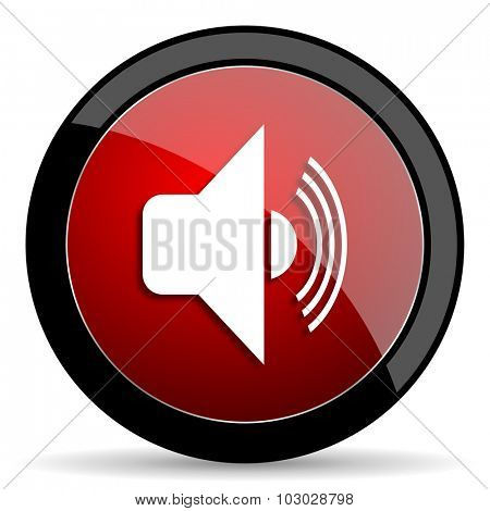 volume red circle glossy web icon on white background, round button for internet and mobile app