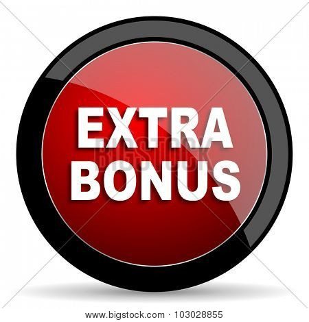 extra bonus red circle glossy web icon on white background, round button for internet and mobile app