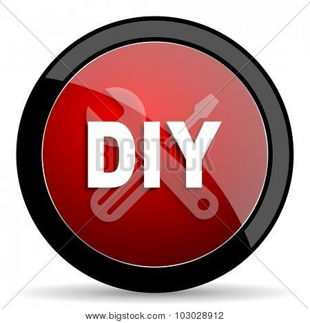 diy red circle glossy web icon on white background, round button for internet and mobile app