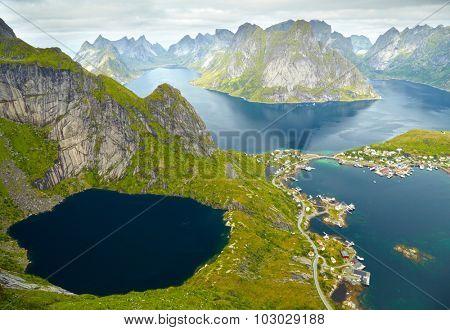 Reine, Norway. Fishing village in Moskenesoya island. Aerial view from Reinebringen hiking trail
