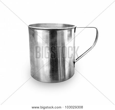 Camping aluminum cup on a white background