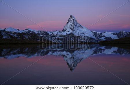 Pink Morning Sky Over The Matterhorn
