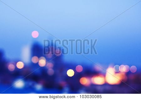 Blurred image of city at night