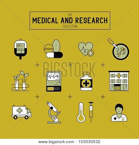 Medical And Research Icon Set