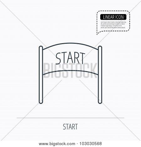 Start banner icon. Marathon checkpoint sign.