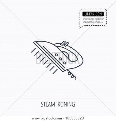 Steam ironing icon. Iron housework tool sign.
