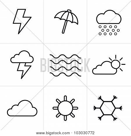 Line Icons Style  Weather  Icons Set, Vector Design
