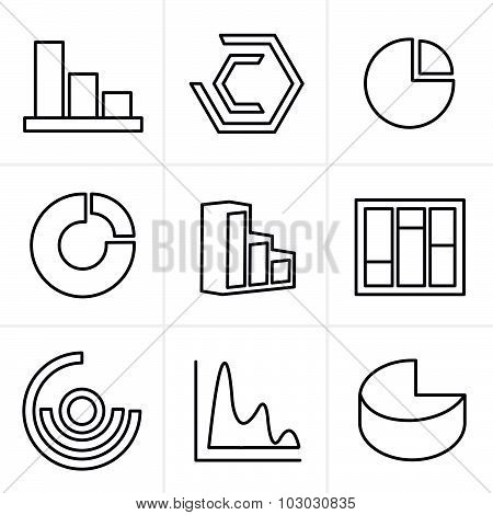 Line Icons Style Simple Set Of Diagram And Graphs Related Vector Icons For Your Design.