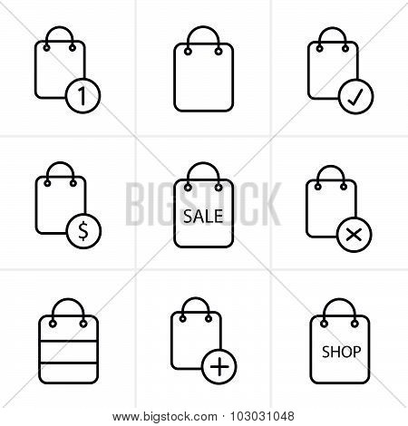 Line Icons Style Shopping Bag Icons On White Background. Vector Illustration.