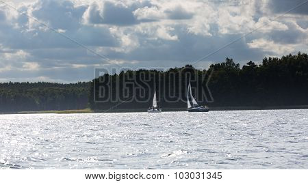 Lake Landscape With Yachts