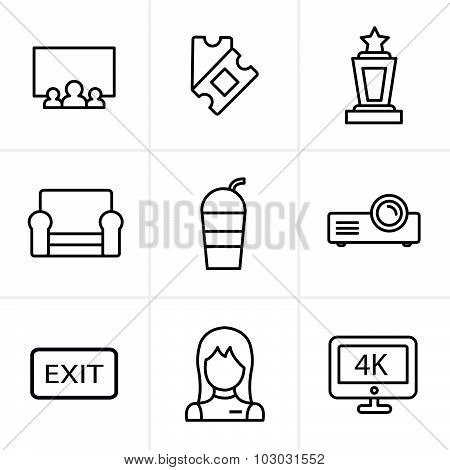 Line Icons Style Cinema And Movie Icons Set