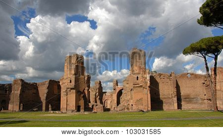 Baths Of Caracalla With Beautiful Sky