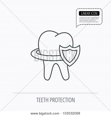 Tooth protection icon. Dental shield sign.