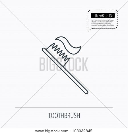 Toothbrush icon. Toothpaste sign.