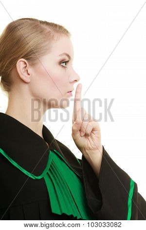 Woman Lawyer Finger On Lips As Quiet Sign