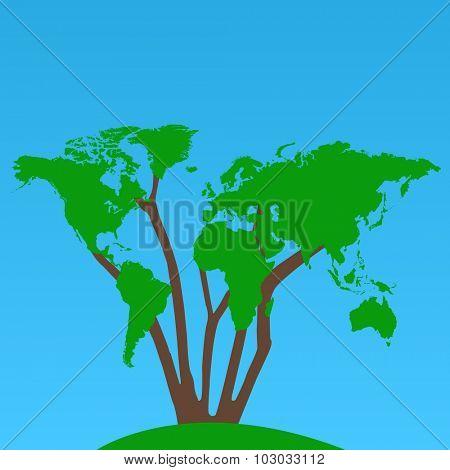 World Map Tree Illustration
