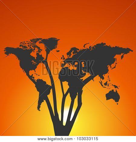 World map tree at sunset illustration