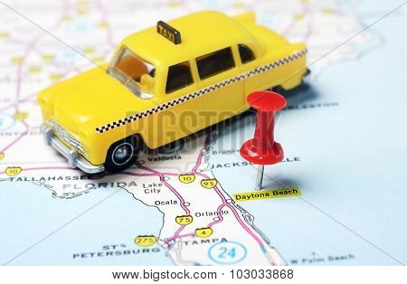 Daytona Beach Florida  Usa Map Taxi