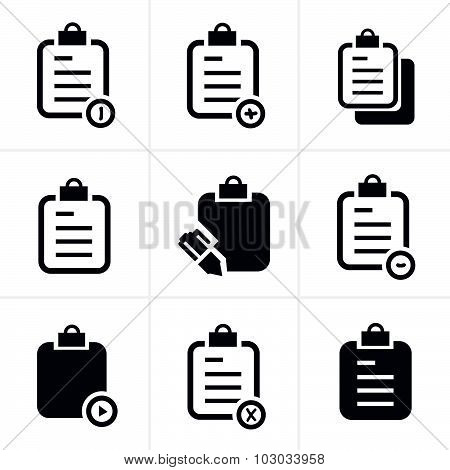 Vector Isolated Clipboard, List Icons Set