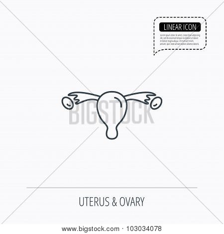 Uterus icon. Ovary sign.