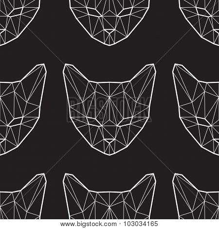 Vector Seamless Pattern With Low Poly Cats