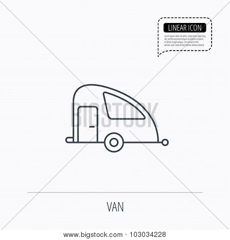 Travel van icon. Holiday camper sign.