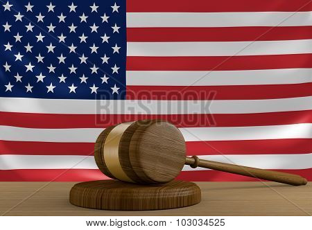 United States law and justice system with national flag
