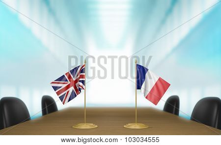 United Kingdom and France relations and trade deal talks 3D rendering
