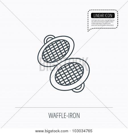 Waffle iron icon. Kitchen baking tool sign.
