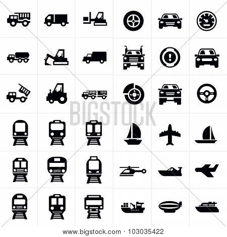 Vector Black Transport Icons Set On Gray