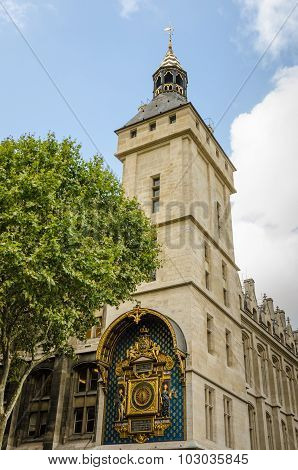 Tower of the Conciergerie with historic clock