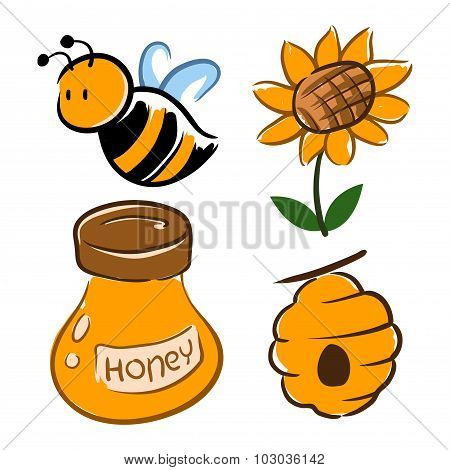 Bumble Bee And Honey Related Symbol