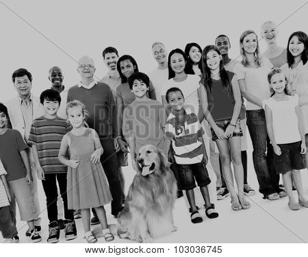 Multi-ethnic group of mixed age people together family Concept