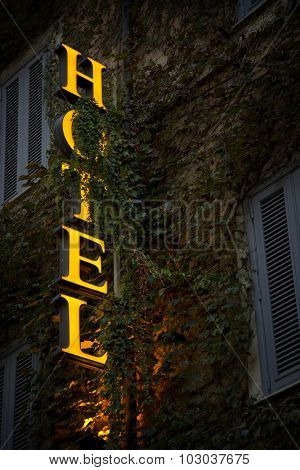 Yellow hotel neon sign in vine leaves
